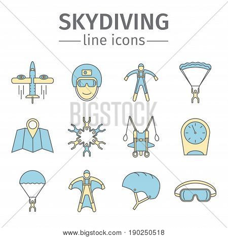 Parachuting sign. Skydiving icon set Vector illustration