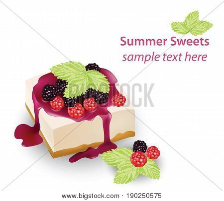 Summer sweet cheesecake with berry fruits syrop. Delicious fresh dessert Vector illustration
