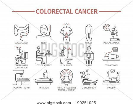 Colorectal Cancer Symptoms. Diagnostics. Line icons set. Vector signs for web graphics.