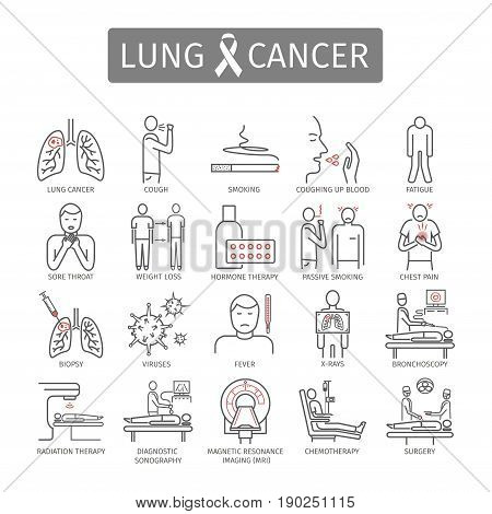 Lung Cancer. . Symptoms, Causes, Treatment. Line icons set Vector signs for web graphics