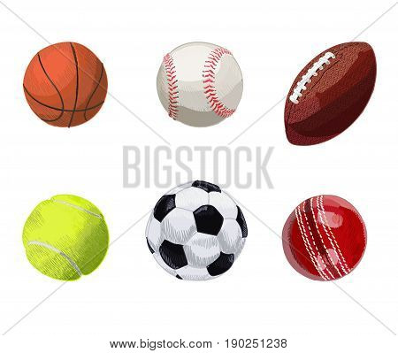 Set of sport balls. Hand drawn VECTOR illustration isolated on white. Basketball, baseball, rugby ball, tennis ball, soccer ball, cricket ball.