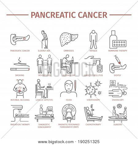 Pancreatic Pancreas Cancer Symptoms. Causes. Diagnostics. Line icons set. Vector signs for web graphics.