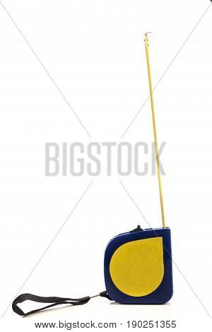 Metal tape measure isolated on a white background