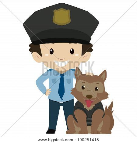 Vector Illustration of Policeman Boy with Police Dog