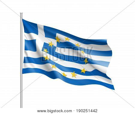 Greece national waving flag with a circle of European Union twelve gold stars, identity and unity with EU, member since 1 January 1981. Realistic vector illustration