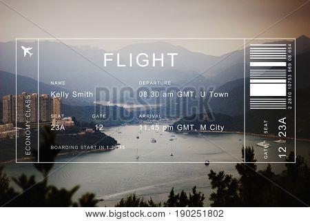 Flight detail banner on lanscape scenic background