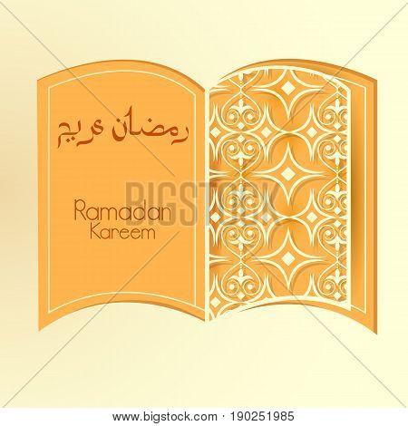 easy to edit vector illustration of holy book Koran in Ramadan Kareem Happy Eid background