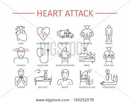 Heart Attack. Symptoms. Line icons set. Vector signs