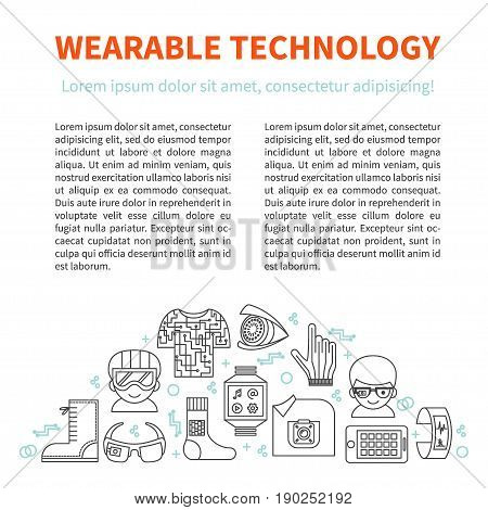 Wearable technology. Vector template for infographic, ads, brochure or web design with header, place for text and semi-circle illustration with thin line icons of smart gadgets.
