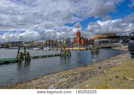 Cardiff Bay Cardiff Wales - May 20 2017: View of Cardiff Bay with Government builidngs and waterfront.