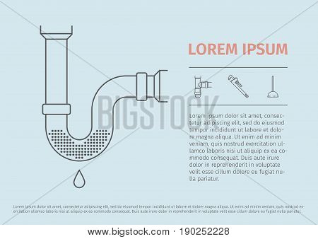 Clog in pipe. Blocked pipe. mud in a blocked drain, unclog, water leak, leaky, leaking, drop. Plumbing poster Vector illustration