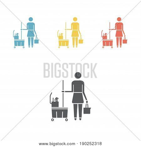 Cleaning woman icon. Cleaning lady room service sign. Vector sign