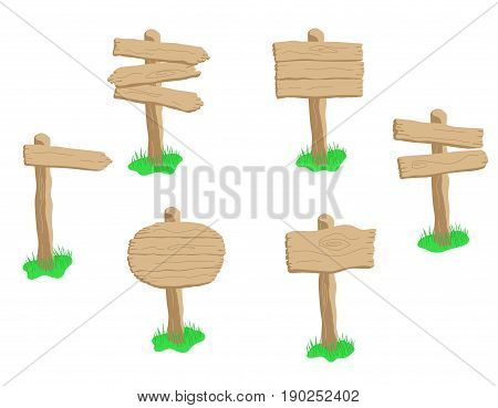 Set Of Cartoon Wooden Sign Isolated On White