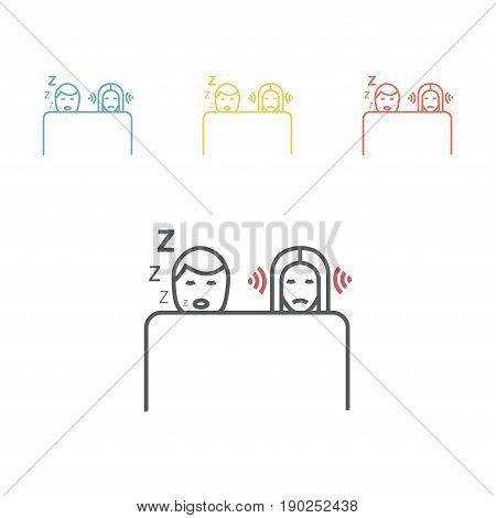 Snoring man. Woman can not sleep. Vector illustration