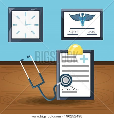diagnostic prescription with stethoscope and diploma with clock vector illustration