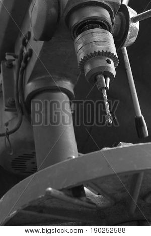 Bench press drilling machine close up picture