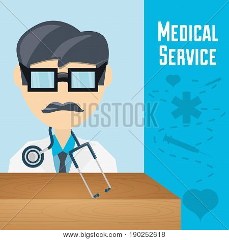 doctor with glasses and stethoscope to medical service vector illustration