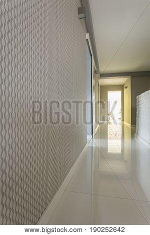 Bright House Corridor With Grey Wallpaper