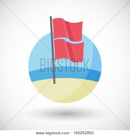 Water closed to public use icon Flat design of red over red warning flags on the beach with round shadow vector illustration