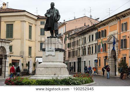 VERONA ITALY - MAY 1 2016: Staue of Cavour in Verona. Italy