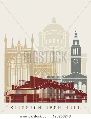Kingston Upon Hull Skyline Poster