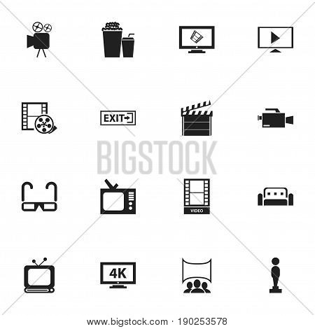Set Of 16 Editable Filming Icons. Includes Symbols Such As Movie, Video Camera, Tripod And More. Can Be Used For Web, Mobile, UI And Infographic Design.