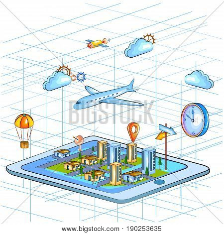 easy to edit vector illustration of Flat style 3D Isometric view of Global Positioning System GPS for location interface