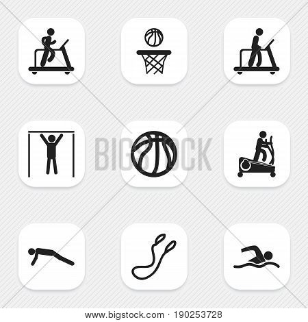 Set Of 9 Editable Training Icons. Includes Symbols Such As Training Pool, Instruction Male, Basketball And More. Can Be Used For Web, Mobile, UI And Infographic Design.