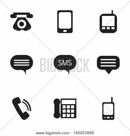 Set Of 9 Editable Device Icons. Includes Symbols Such As Transceiver, Radio Talkie, Retro Telecommunication And More. Can Be Used For Web, Mobile, UI And Infographic Design.
