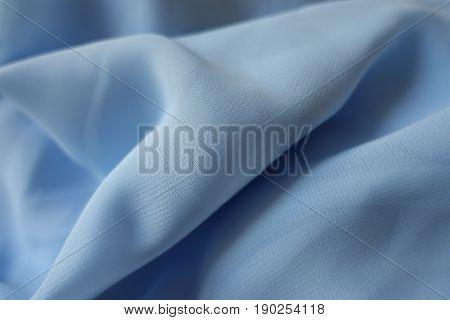 Rippled Gauzy Light Blue Chiffon Fabric (diagonal)