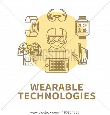 Wearable technology. Vector illustration with thin line icons of smart gadgets and devices. Wearable tech concept design. Good choice for blogs, banners, brochure etc.