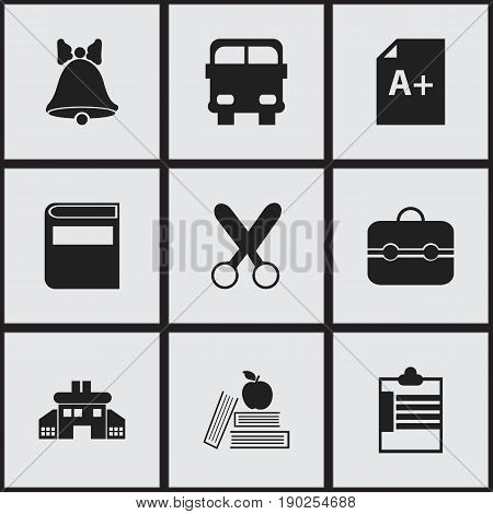 Set Of 9 Editable Education Icons. Includes Symbols Such As Textbook, Trunk, Page And More. Can Be Used For Web, Mobile, UI And Infographic Design.
