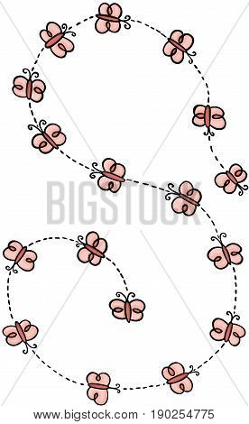 Scalable vectorial image representing a spiral of flying butterflies, isolated on white.