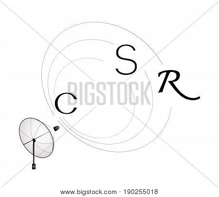 Satellite Dish with CSR or Corporate Social Responsibility Communication Concepts.