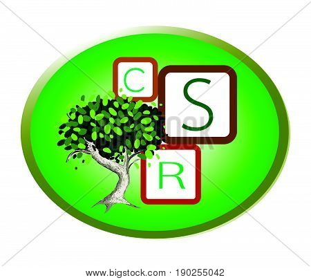 Business Concepts, Green Plant with CSR Abbreviation or Corporate Social Responsibility in Round Label.