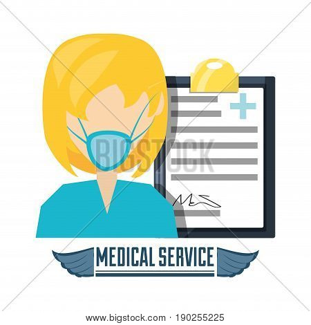 doctor with mask and diagnostic prescription vector illustration