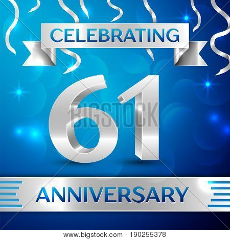 Sixty one Years Anniversary Celebration Design. Confetti and silver ribbon on blue background. Colorful Vector template elements for your birthday party. Anniversary ribbon