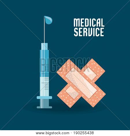 syringe with medicine and aid band vector illustration