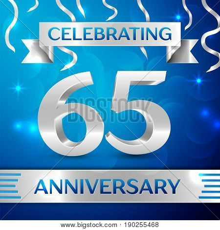 Sixty five Years Anniversary Celebration Design. Confetti and silver ribbon on blue background. Colorful Vector template elements for your birthday party. Anniversary ribbon