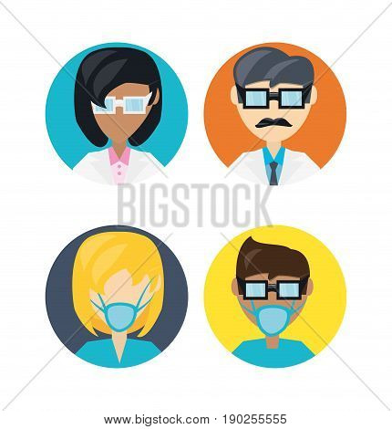 set doctor with glasses and mask vector illustration