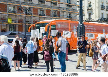 Madrid Spain - june 06 2017: Bus anti-transgender Hazte Oír (