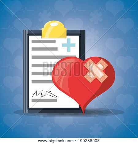 heart with aid band and medical precription vector illustration
