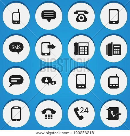 Set Of 16 Editable Gadget Icons. Includes Symbols Such As Tablet, Transceiver, Retro Telecommunication And More. Can Be Used For Web, Mobile, UI And Infographic Design.