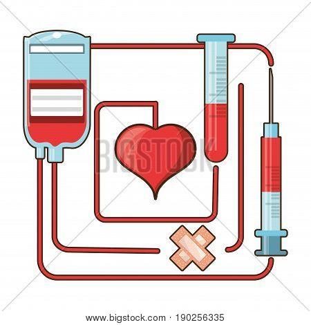 blood donation and transfusion tools vector illustration