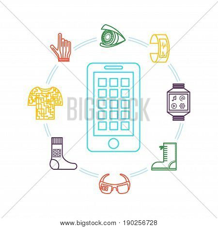 Wearable technology. Vector monochrome illustration with smart gadgets (tracker, phone, glasses, camera), smart clothing and shoes. Thin line icons. Could be used for magazine or blog infographic.