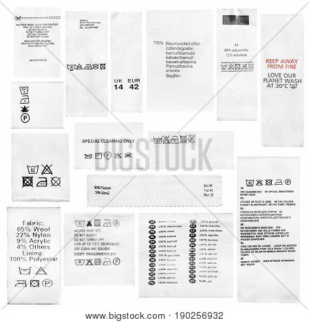 Set of fabric composition and washing instructions labels on white background