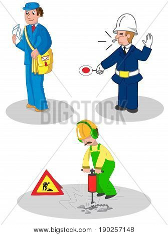 Postman warden and building contractor set of illustrated jobs