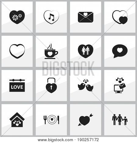 Set Of 16 Editable Heart Icons. Includes Symbols Such As Gear, Passion, Proclamation And More. Can Be Used For Web, Mobile, UI And Infographic Design.