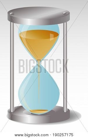 Glass Hourglass with metal hats Sand begins to flow