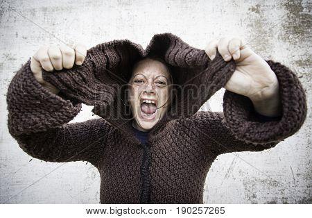 Girl screaming desperate urban street horror detail